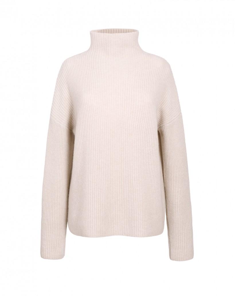 Ciepły kaszmirowy sweter kolor beżowy