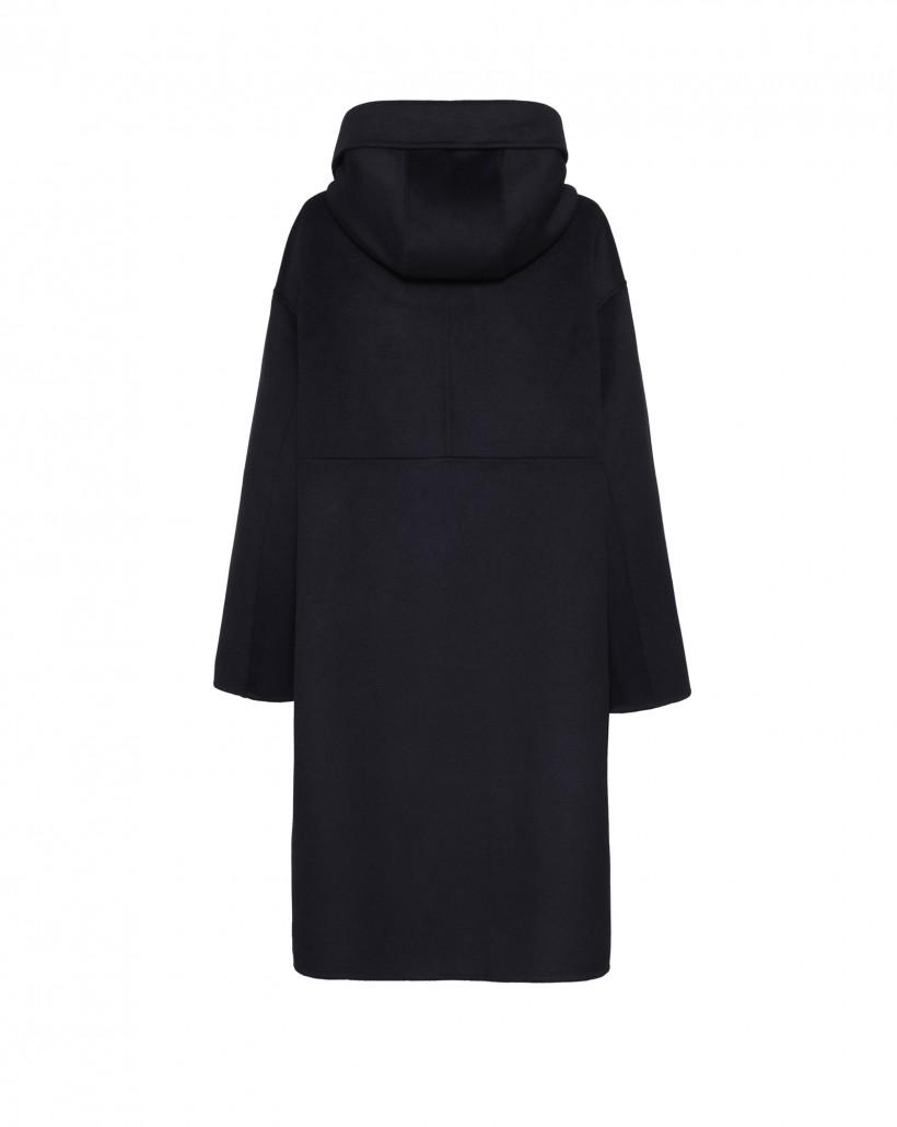 Czarny płaszcz z kapturem z czystej wełny