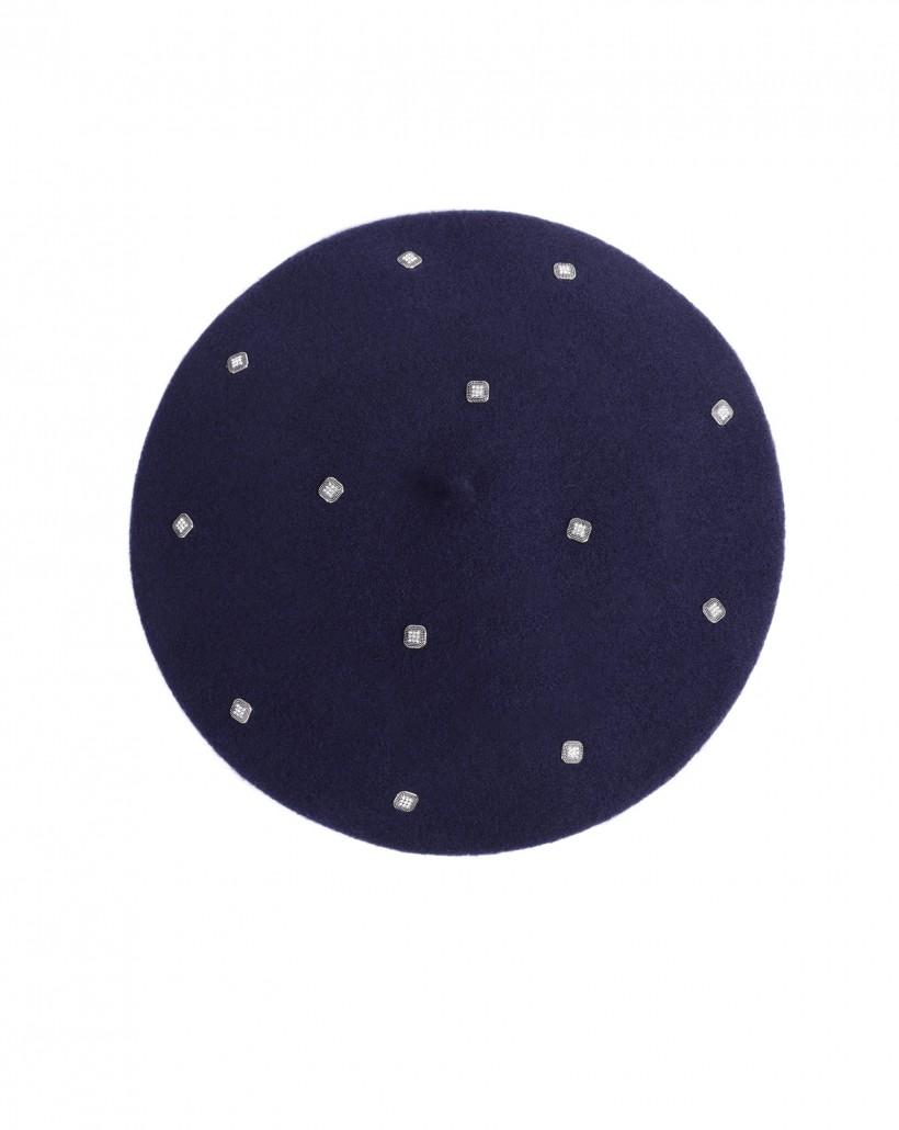 Granatowy beret wełniany