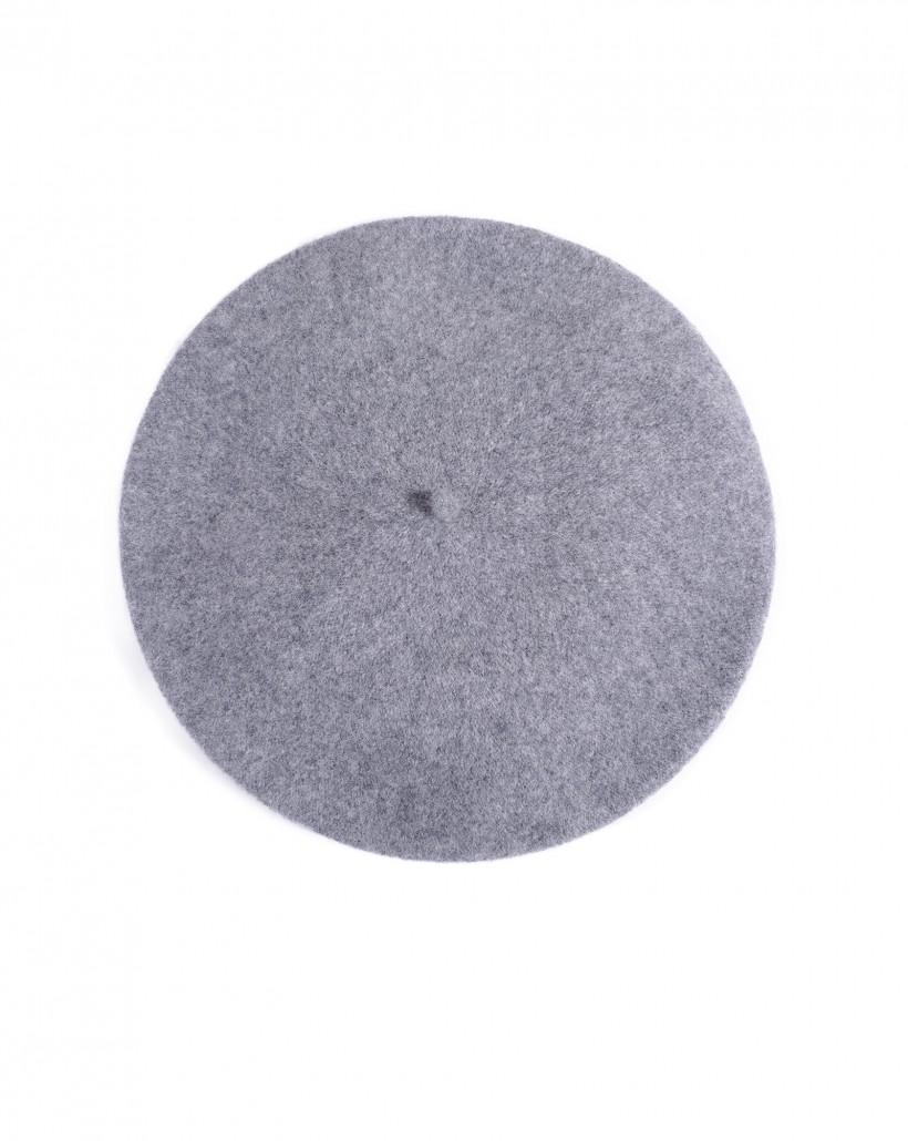 Szary beret wełniany