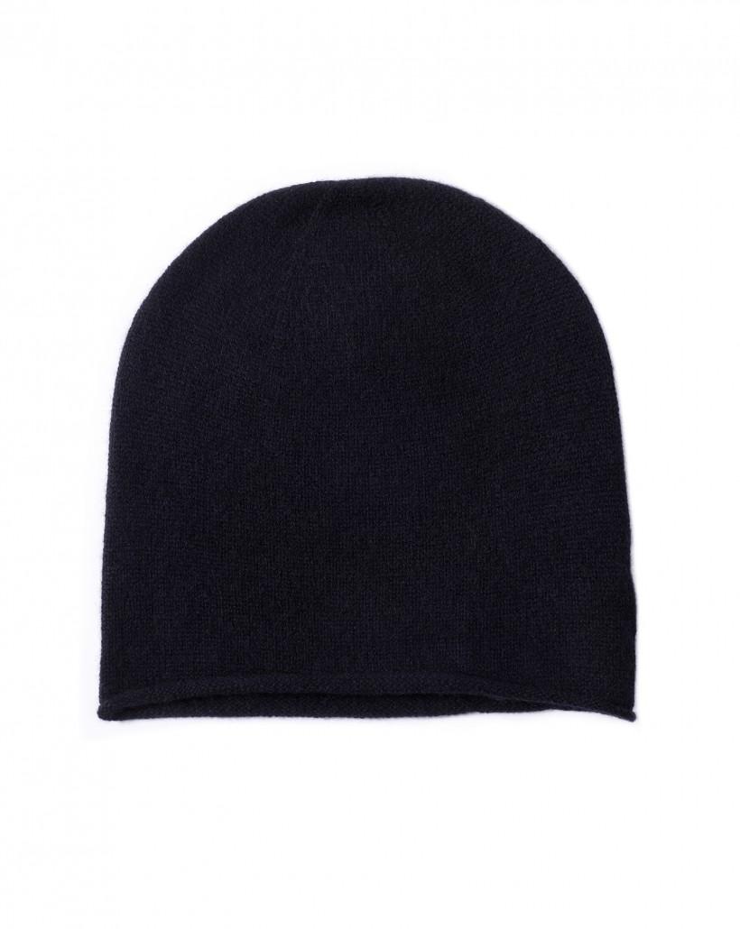 Kaszmirowa czapka w kolorze czarnym