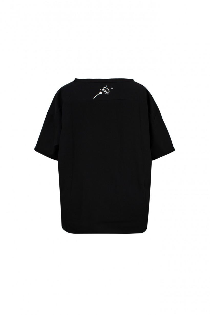 Czarny T-shirt oversize