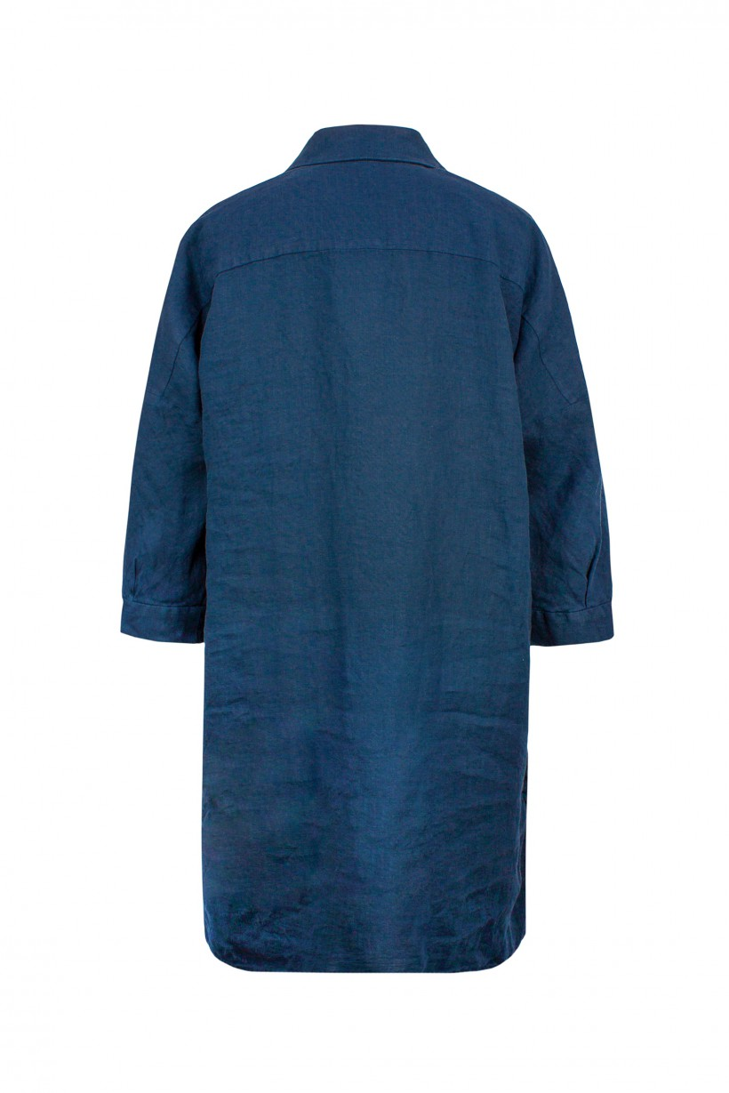 Granatowa sukienka 100% len