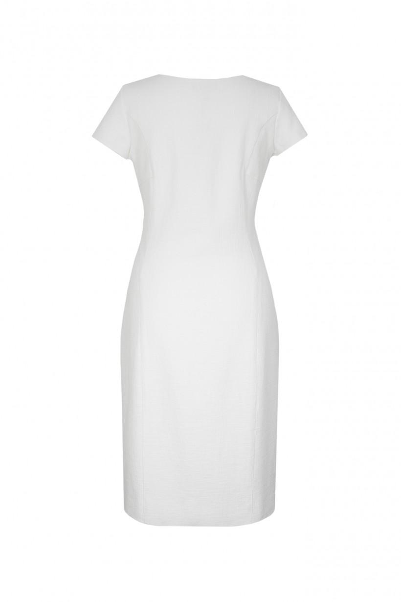 Biała sukienka o dopasowanym kroju z zamkiem