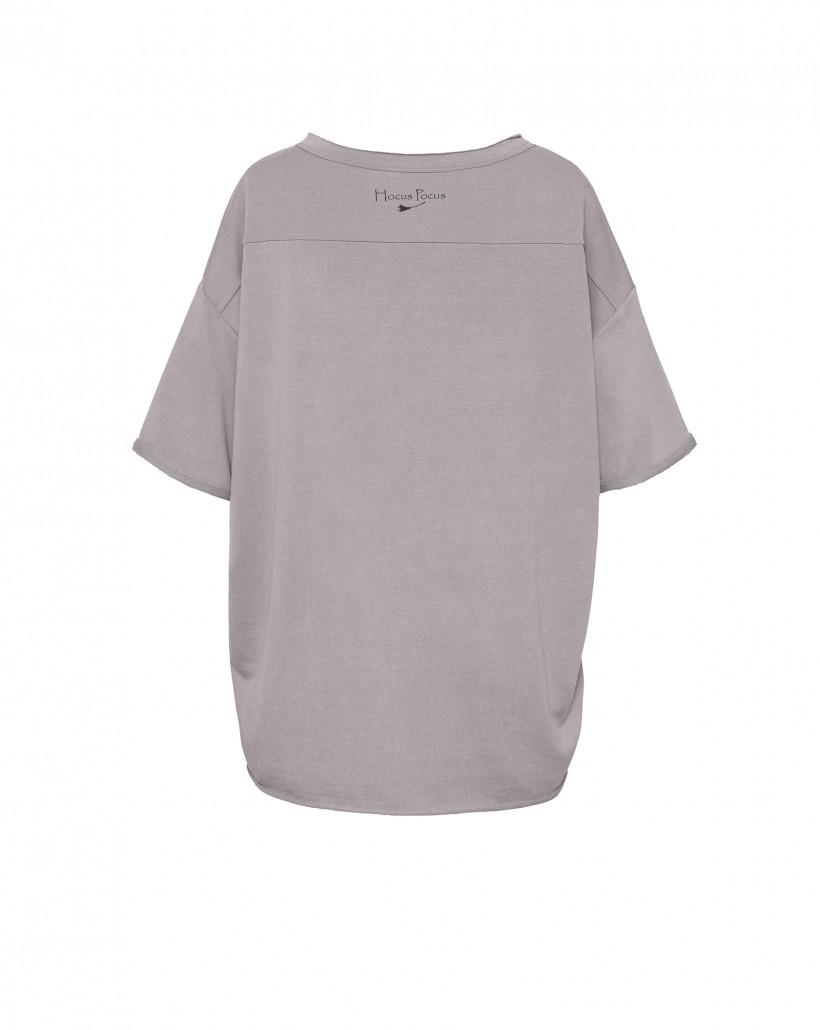 T-shirt oversize z nadrukiem HEXELLENT w kolorze szarobeżowym