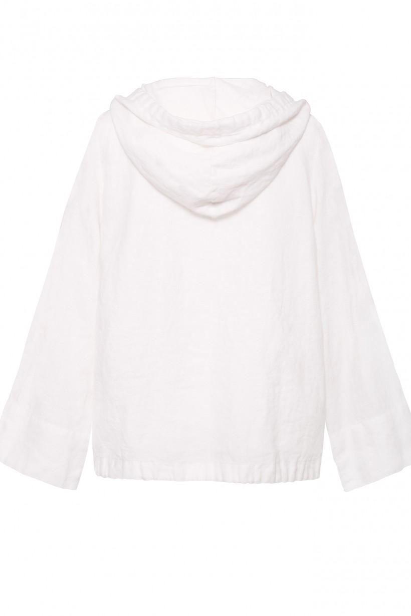 Lniana bluza z kapturem o luźnym kroju w kolorze białym
