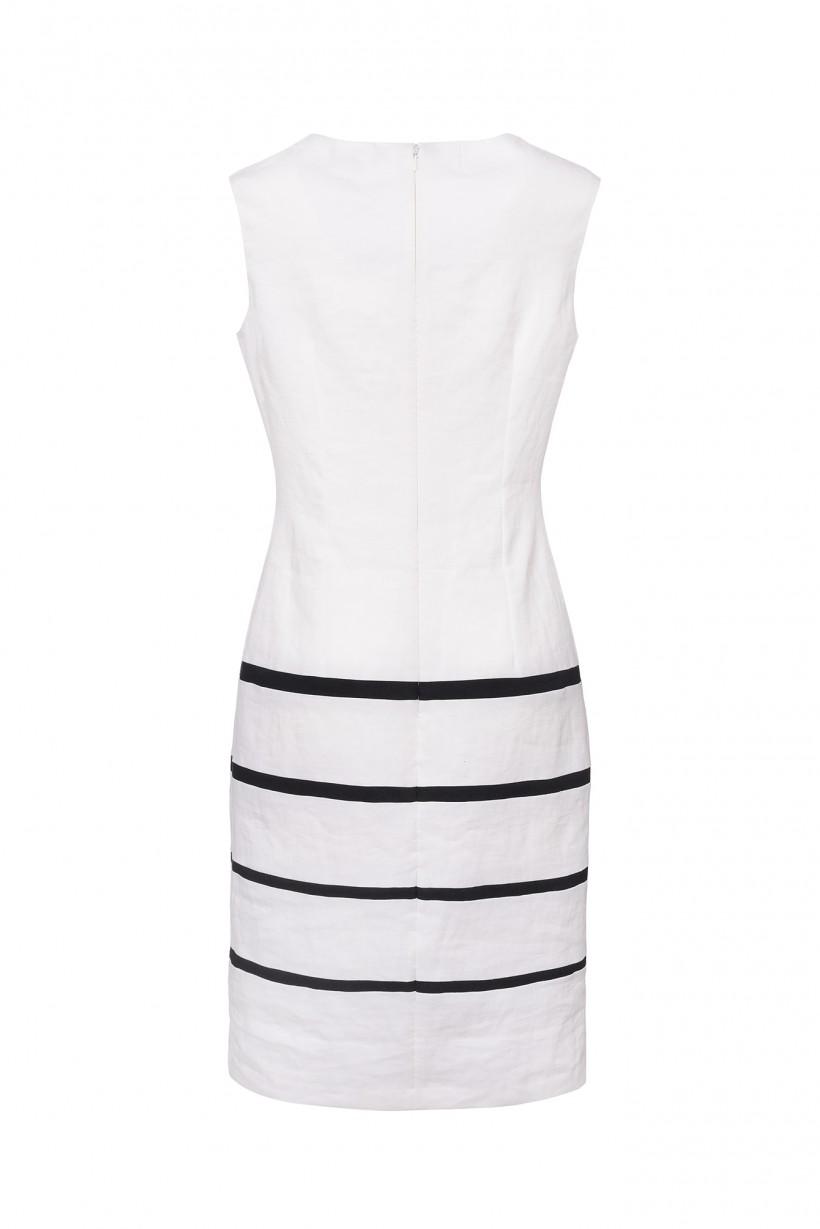 Dwuczęściowa sukienka z lnu w kolorze białym