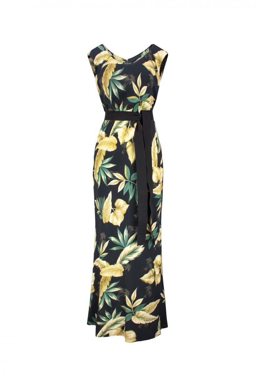 Długa sukienka z kolorowym printem