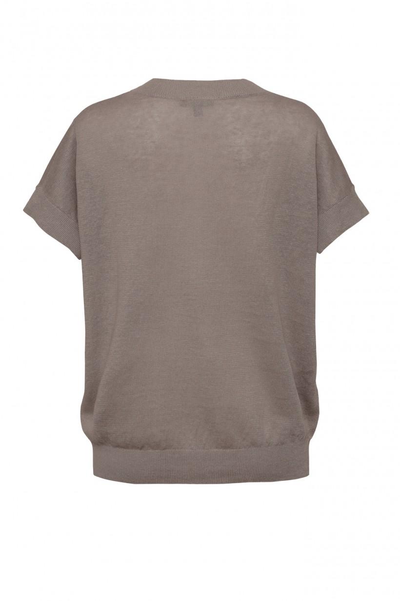 Lniany sweter w kolorze brązowym