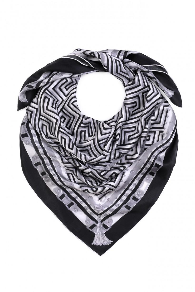 Chusta w czerni i bieli w geometryczny wzór 100% jedwab