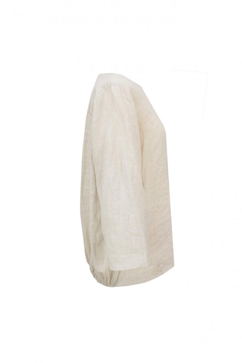 Lniana bluzka w beżowym kolorze