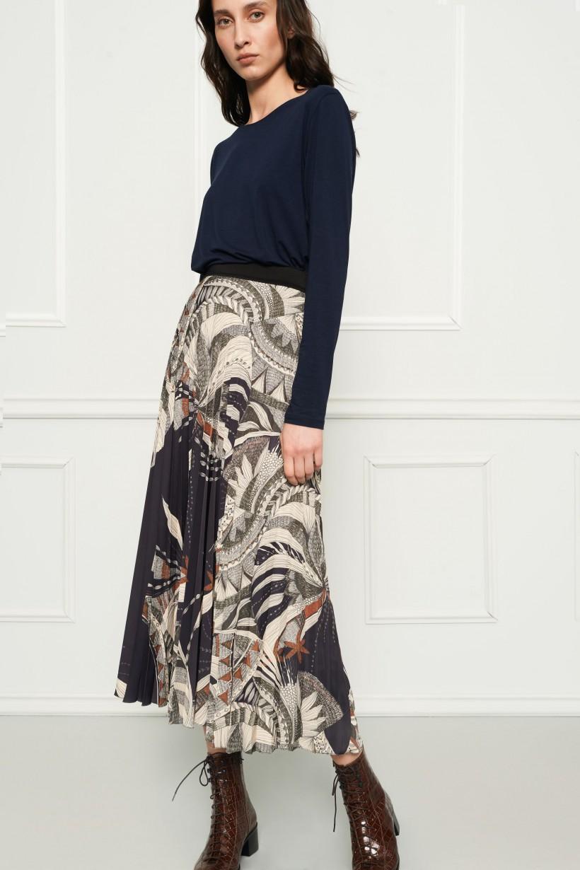 Plisowana maxi spódnica z printem