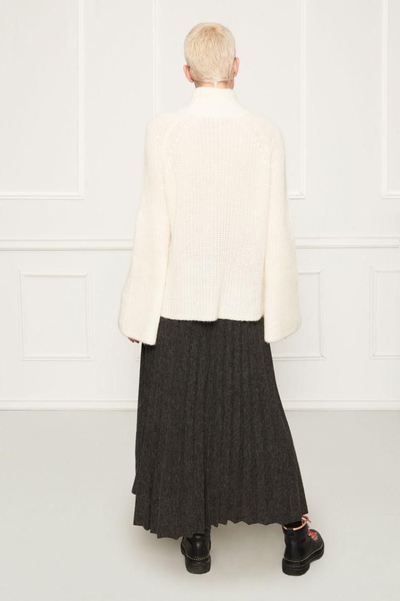 Długa plisowana spódnica z mięsistej szarej tkaniny