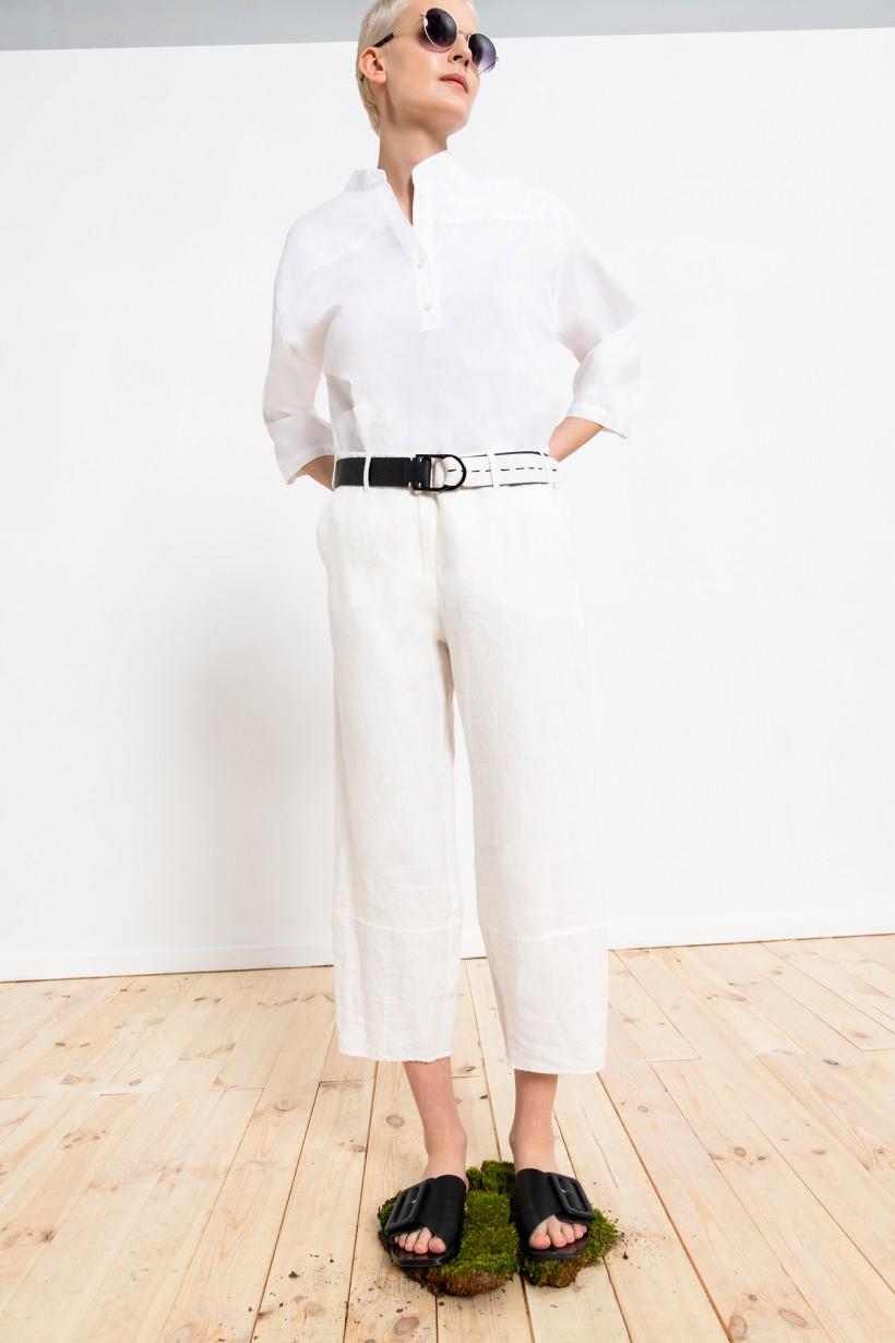 Spodnie lniane w kolorze białym o luźnym kroju