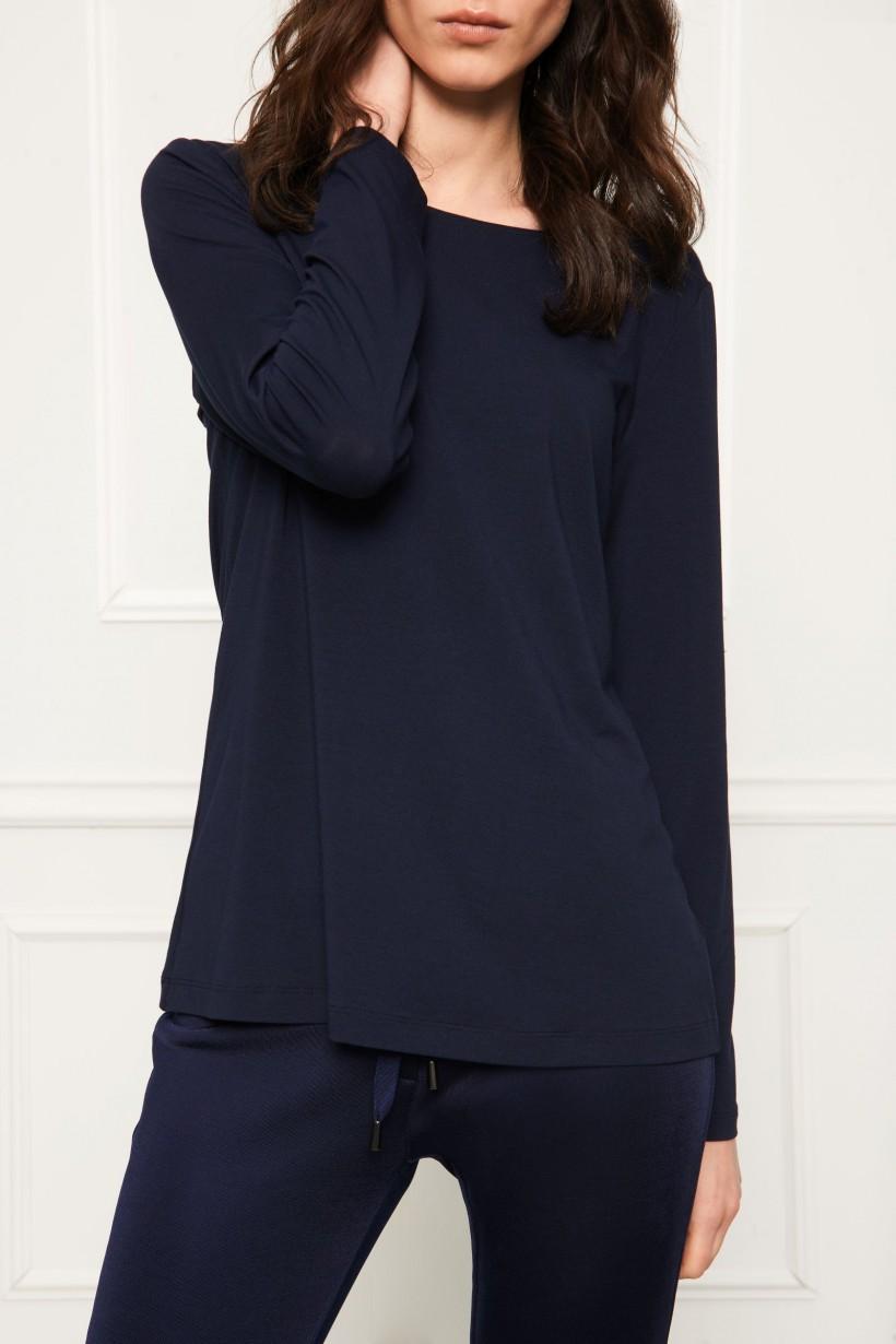Granatowy t-shirt z długim rękawem