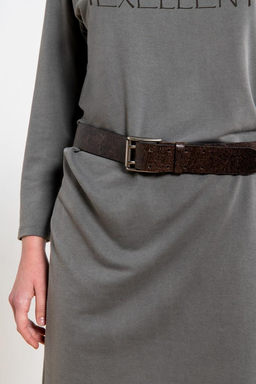 Szara sukienka z nadrukiem