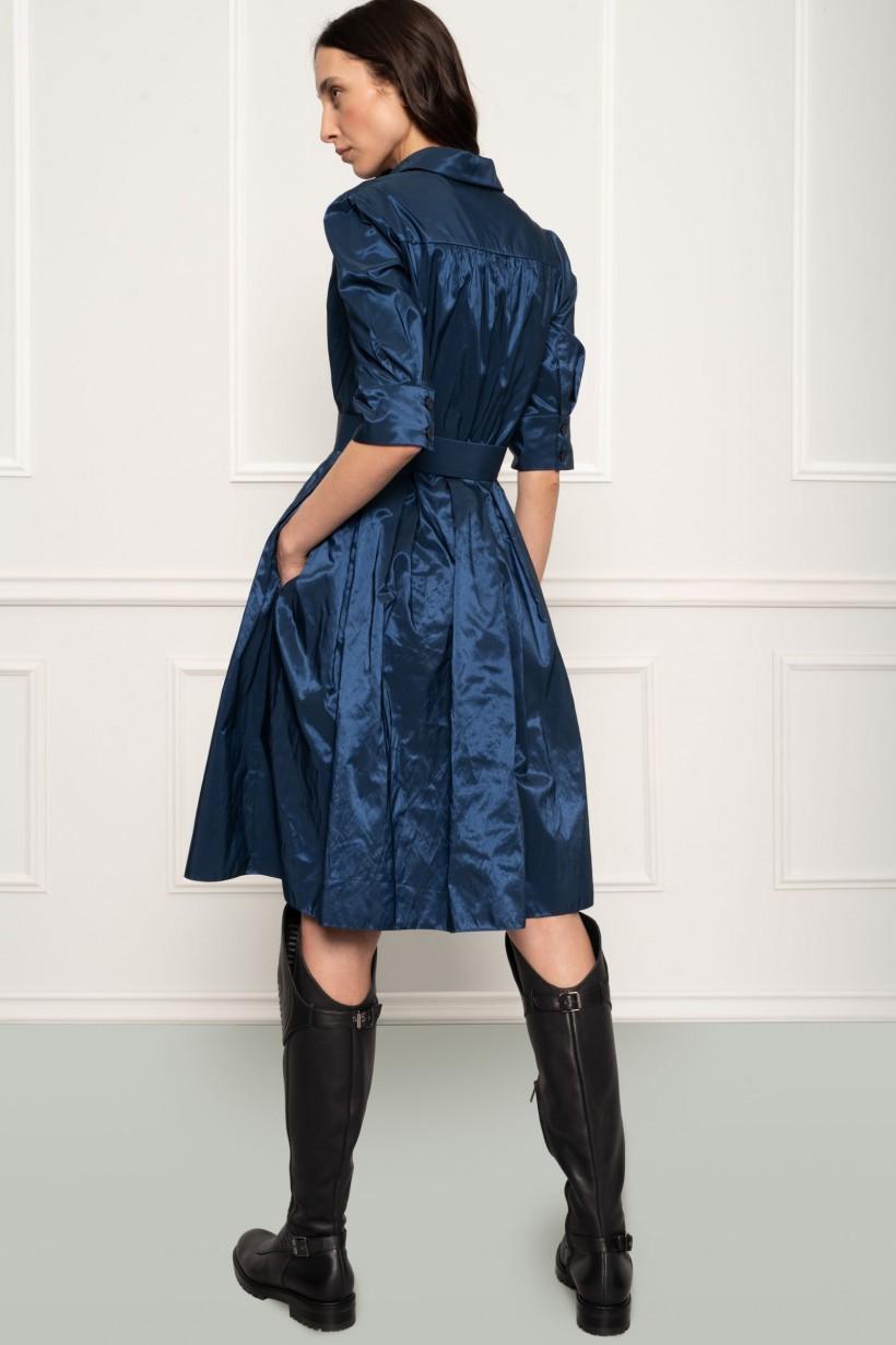 Sukienka z granatowej tafty krój podkreślający talię
