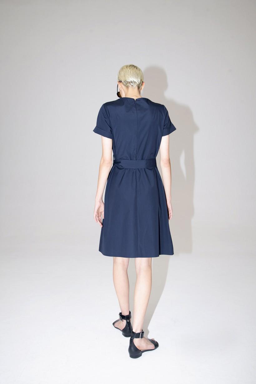 Granatowa letnia sukienka z bawełny