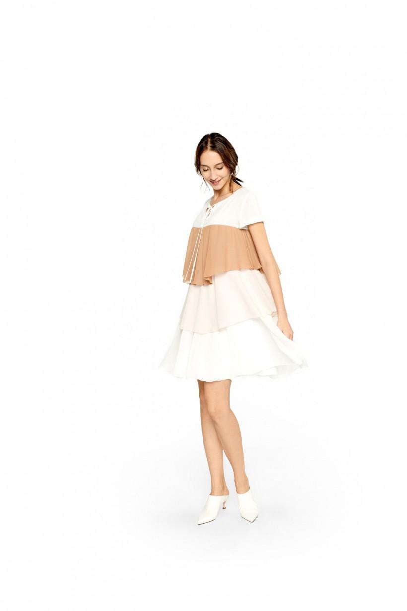 Szyfonowa sukienka z falban
