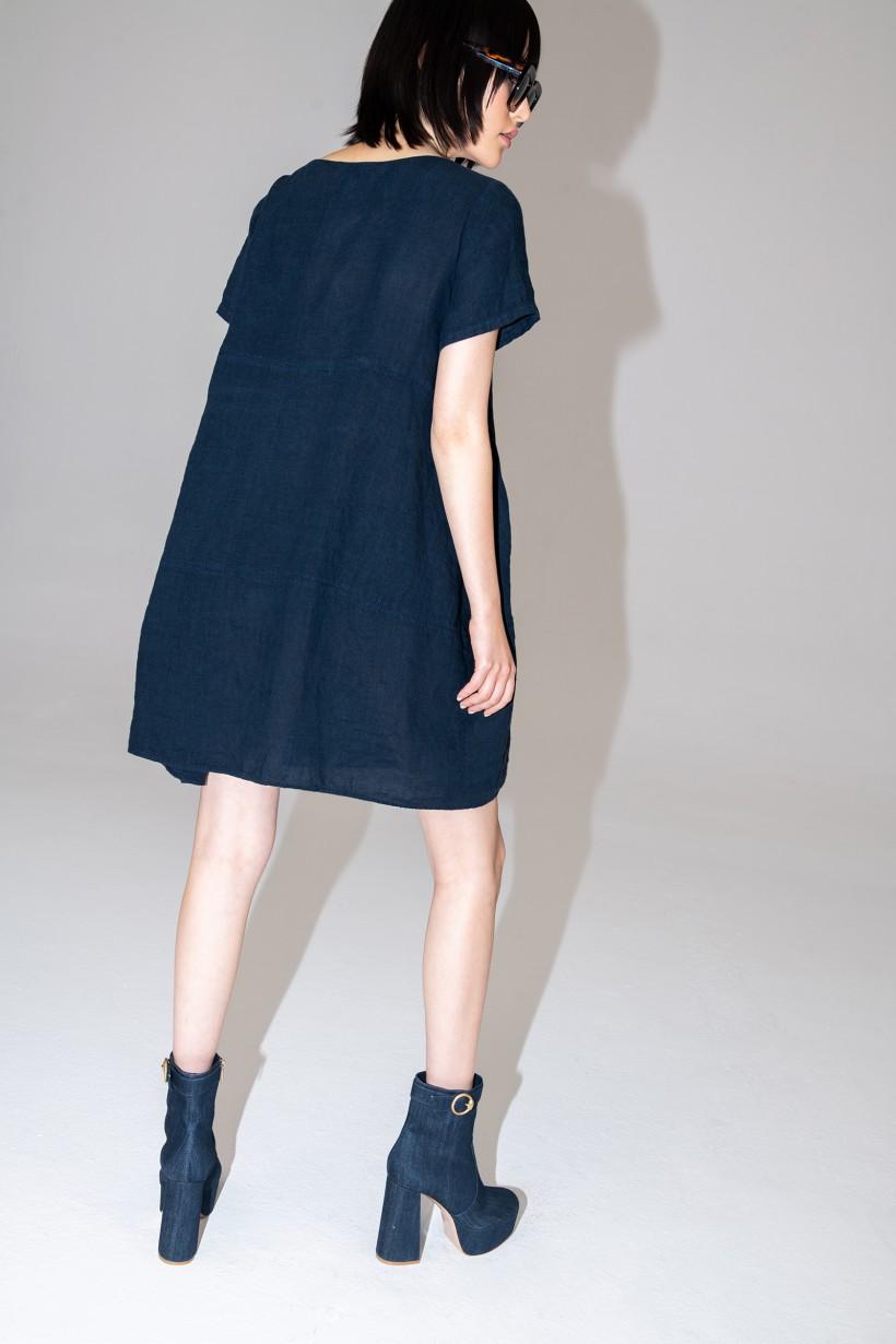 Granatowa sukienka oversize z czystego lnu