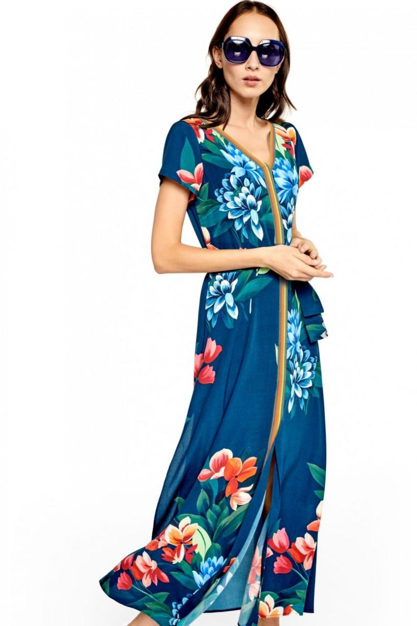 3f2e40dae8 Drukowana sukienka z paskiem - Wiosna Lato 2019 Hexeline Odzież damska