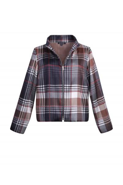 Krótka kurtka deseń w kratę w odcieniach brązu