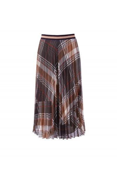 Szerokie plisowane spodnie w kratę odcienie brązu i beżu