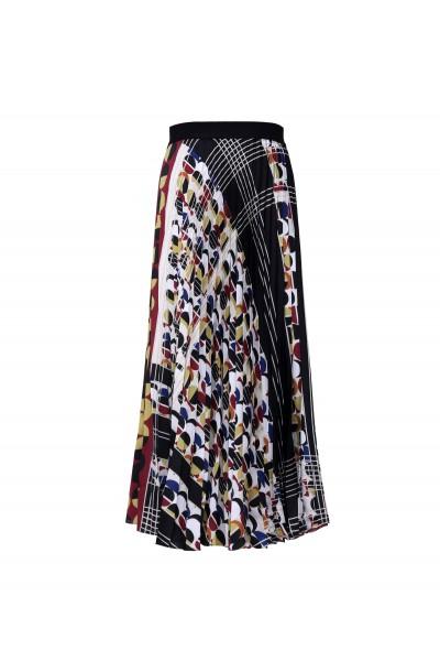 Plisowana spódnica maxi z geometrycznym printem