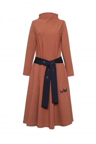 Jasnobrązowa sukienka z dzianiny dresowej