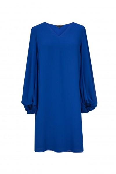 Sukienka z ozdobnym rękawem w kolorze szafirowym