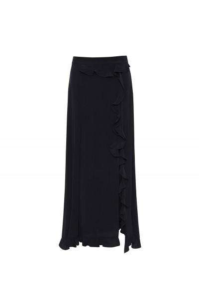 Długa spódnica z rozcięciem wykończonym falbaną