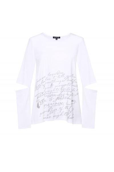 Biały t-shirt z oryginalnym rękawem