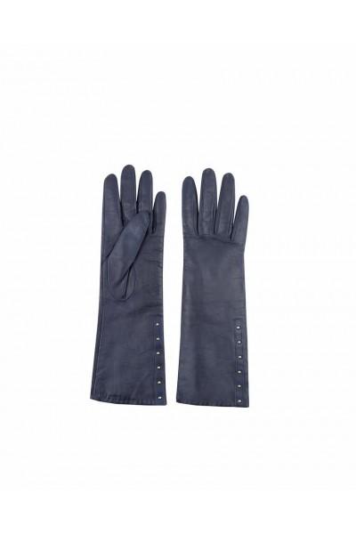 Ciemnoniebieskie rękawiczki skórzane
