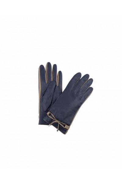 Rękawiczki skórzane granatowo-beżowe