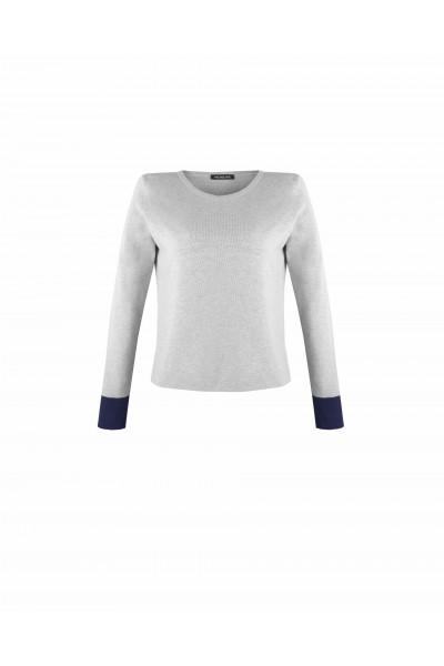 Sweter z kontrastowymi ściągaczami