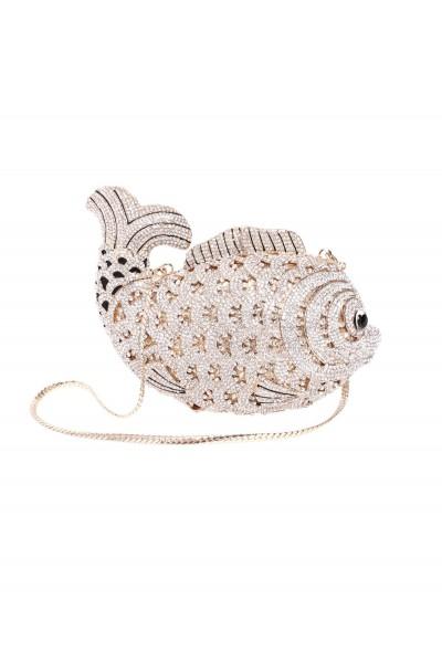 Biżuteryjna torebka ryba z kamieniami