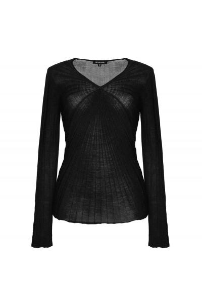 Czarny sweter z wełny merynosa
