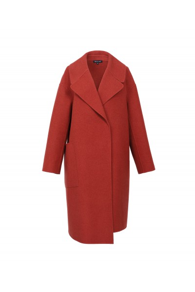Rudy dwurzędowy płaszcz