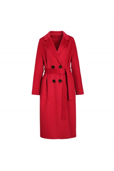 Czerwony dwurzędowy płaszcz