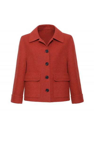 Wełniana ruda kurtka z kaszmirem