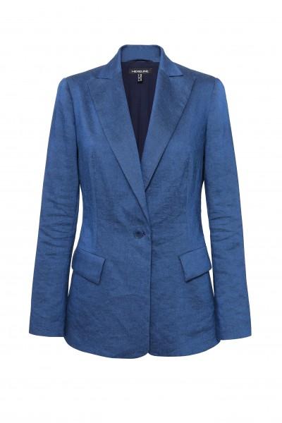 Klasyczny żakiet z lnem w kolorze niebieskim