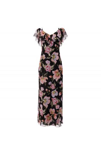 Zwiewna sukienka szyfonowa w kwiaty