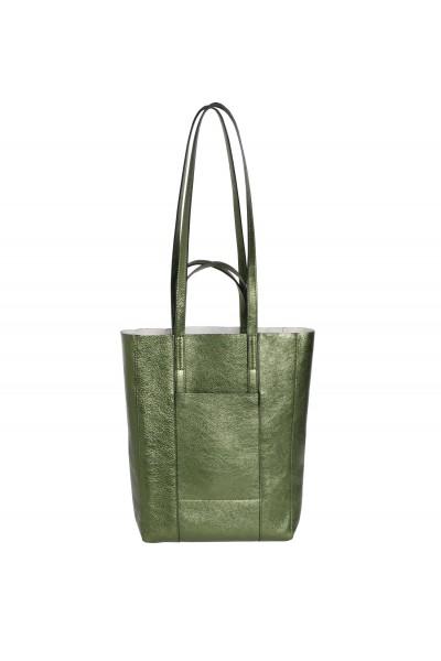 Skórzana torba w kolorze metalicznej zieleni