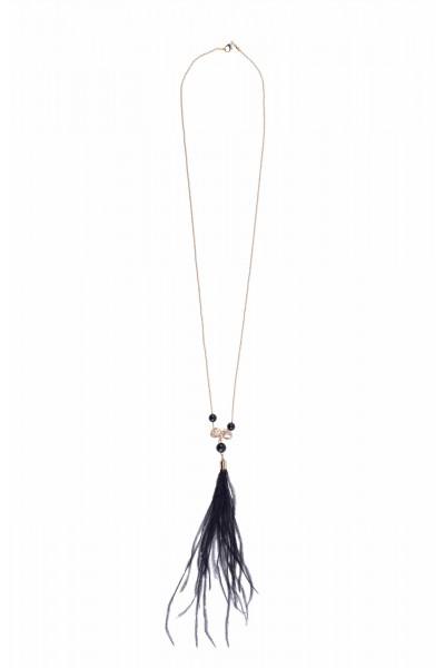 Naszyjnik z czarnymi piórami