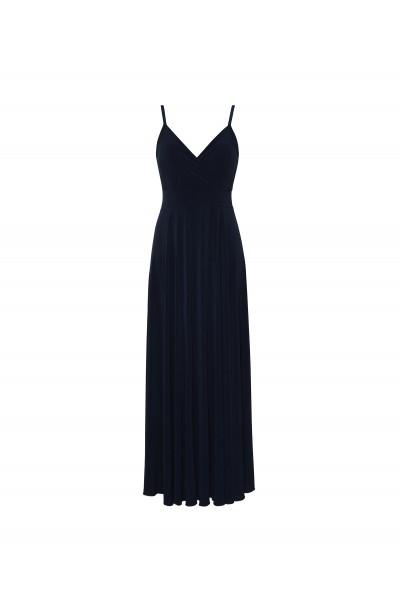 Długa sukienka w kolorze granatowym z rozkloszowanym dołem