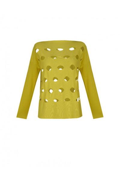 Bawełniany sweter w kolorze żółtym