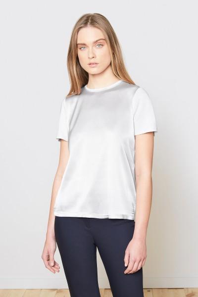 Jedwabny T-shirt w perłowym kolorze