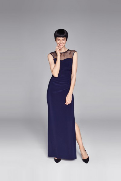 Długa sukienka z transparentną górą