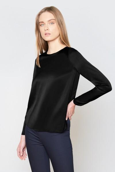 Jedwabna bluzka z długim rękawem w kolorze czarnym