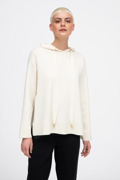 Wełniana bluza z kapturem w kolorze beżowym
